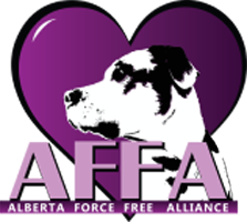 Alberta Force Free Alliance Logo Purple Heart with an black and white dog head and the AFF in purple below