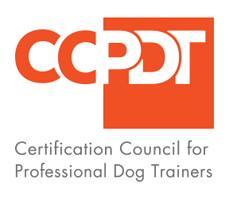 Logo for the Certificaqtion Council for Professional Dog Trainers with the initals CC orange on white and PDT white on orange