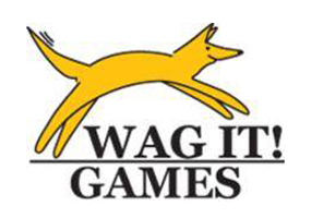 Wag it games Logo with a Yellow Dog jumping over the name